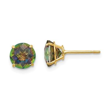 14k Yellow Gold Solid Round Mystic Rainbow Topaz 6mm Post Earrings