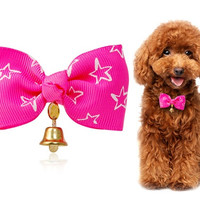 Lovely Pet Bow Necktie with Ring Bell (Pink)