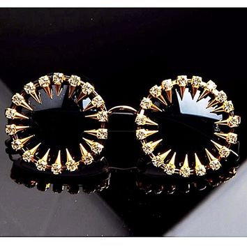 Edgy Punk Gold & Black Circle Rhinestone Crystal Studded Handcrafted Sunglasses