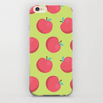 Apple Print iPhone 6 Case Apple Phone Covers Cell Phone Accessory and Matte Rubberized Case Feel Granny Smith Apple Red and Green Cover