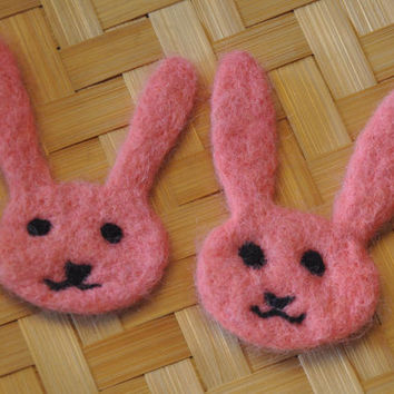 Pink Bunny with Finish Options: hair clip, fidget, brooch pin, worry toy, magnet, ornament. Smiley face, felted with a smile for a smile!