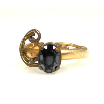 Vintage Hematite Ring Marked Sovereign 14K GF Shank Size 6 Adjustable