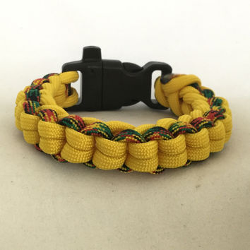 Yellow Rasta - Boxed Braided Survival Paracord Bracelet