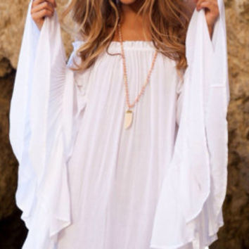 Bali Cliff Dress, White Tunic, Beach Dress, Gypsy Dress, Bell Sleeve, Off Shoulder Dress, Beach Cover Ups, zigeuner kleid, coachella 2016