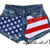 AMERICAN BEAUTY Frayed High Waisted American Flag Denim Shorts/ Plus Size Available!