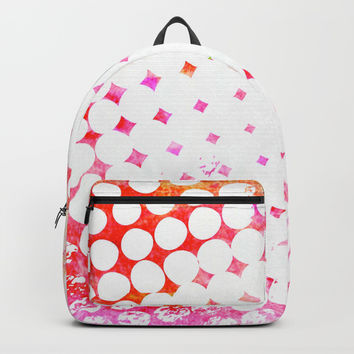 Pink Grungy Pop Art Backpack by Samantha Lynn