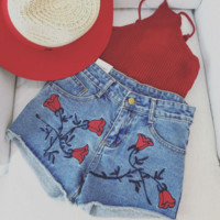 Fashion Rose high embroidery waist loose thin denim shorts