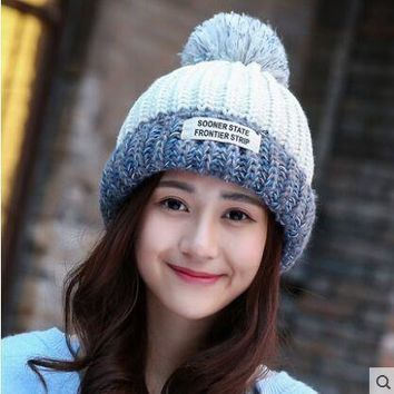 New Arrivals Autumn Winter Beanies Gorro Fashion ear Cap Knitting Labeling Ladies Hats Women Thickening Ball Knitted hat Girl