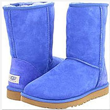 UGG Short boots antiskid warm lazy sheep fur simple ugg boots canister boots Fresh Blue