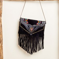 Embroidered Fringe Crossbody with Studs