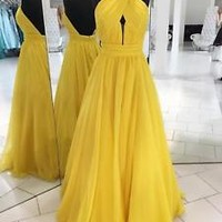 Halter Backless Yellow Prom Dress 2k18 Prom Gown Custom Size 0 2 4 6 8 10 12 14