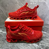 DCCK2  N845 Nike AIR MAX 2019 Braided Mesh Flame Blade Shock Absorbing Springback Bottom Running Shoes Red Yellow