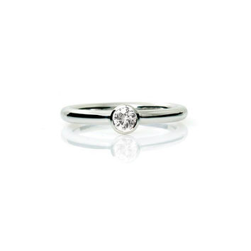 White sapphire ring, engagment ring, bezel, solitaire, sapphire engagement, unique, simple, white gold, yellow gold, rose gold