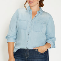 plus size chambray button down shirt in light wash