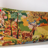 Huge Unique Vintage Silk Needlepoint Tapestry Le Chasse Hunt Horses Hounds reworked with French Linen Statement Pillow Cushion Coussin