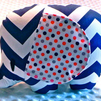 Baby Boy Navy Chevron and Navy Red and Orange Polka Dots Stuffed Elephant Toy