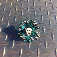 Zebra and turquoise gerber flower clip with skeleton