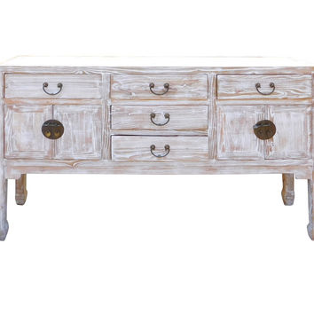 Chinese White Wash Wood Grain Finish Sideboard Credenza Cabinet cs1546S