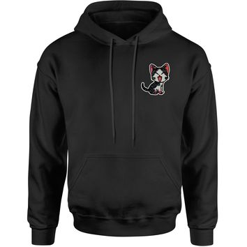 Embroidered Cat Patch (Pocket Print) Adult Hoodie Sweatshirt