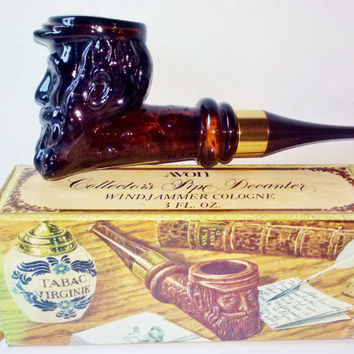 NIB Avon Collectors Pipe Decanter Vintage Full of Original Wind Jammer Cologne for Men 3 fl oz Brown Glass Pipe Collectible Bath Home Decor