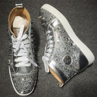 VONE7Y2 Cl Christian Louboutin Rhinestone Style #1955 Sneakers Fashion Shoes