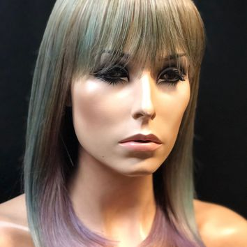 Light Blue & Green PeekABoo Pastel Multi-Colored Ombre Wig