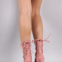 Liliana Suede Pointy Toe Lace Up Stiletto Pump