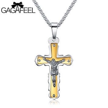 GAGAFEEL Punk Men's Necklace Crucifix Jesus Pendant Male Jewelry Domineering Stainless Steel Religious Cross Lucky Boy's Gift