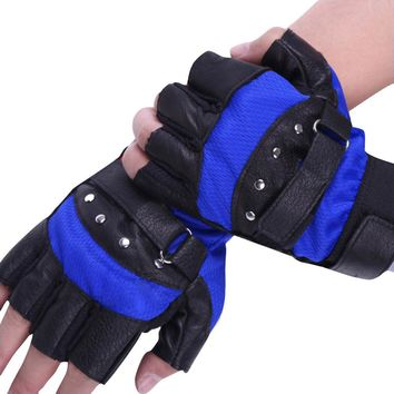 2017 New Arrival Gloves Men Soft Sheep Leather Driving Motorcycle Biker Fingerless Warm Gloves Blue Red Tactical Gloves