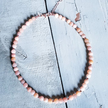 Frosted Sunstone Choker Necklace 234R