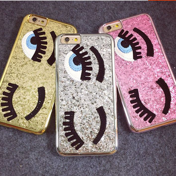 For iphone 6 6S 7 Plus case luxury Glitter powder chiara ferragni Bling eyes eyelashes phone Cases for iPhone 6 6s SE 5 5s coque