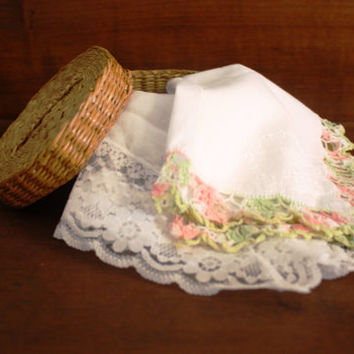 Two Vintage Ladies Handkerchiefs and a Cute Round Basket.