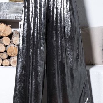 High Society Silver Loose High Waisted Lamé Metallic Pleated Palazzo Trouser Pants