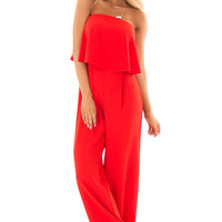 Candy Apple Red Sleeveless Jumpsuit with Bust Overlay