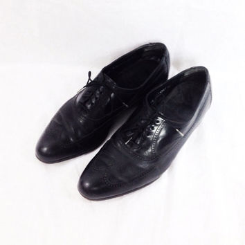 Vintage 80s FLORSHEIM Oxford Wingtip Brogues Leather Black Shoes Sz 10