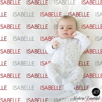 Personalized Name blanket in red and gray, personalized baby gift, swaddling blanket, baby blanket, modern trendy blanket,  Capital