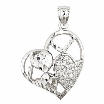 Gorgeous Heart Shape Shiny Diamond Cut With CZ Set On 18k Layered Sterling Silver Pendant