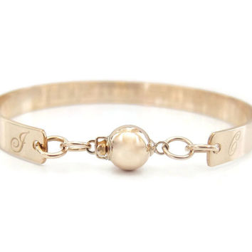 Personalized Gold Engraved Ball Bracelet - Customized with your Date in Roman numerals, Coordinates, Monogram, Wedding or Anniversary Gift