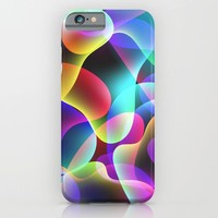 Electric  Rainbow Jellyfish iPhone & iPod Case by Miss L In Art