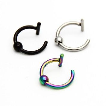 ac PEAPO2Q ZLDYOU Nostril Stainless Nose Hoop Nose Rings Clip On Labret Lip Rings Ear Body Fake Piercing Jewelry For Women Men
