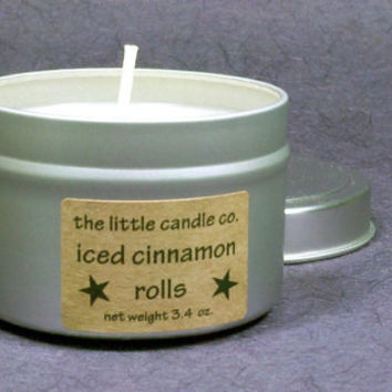 Iced Cinnamon Rolls Soy Candle Tin - Hand Poured and Highly Scented Container Candles
