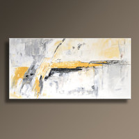 "48"" Large ORIGINAL ABSTRACT Yellow Gray White Black Painting on Canvas Contemporary Abstract  Modern Art wall decor - Unstretched"