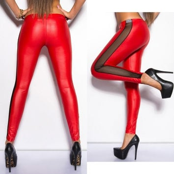 Gothic Punk Womens BLack/Red Faux leather Leggings Pants