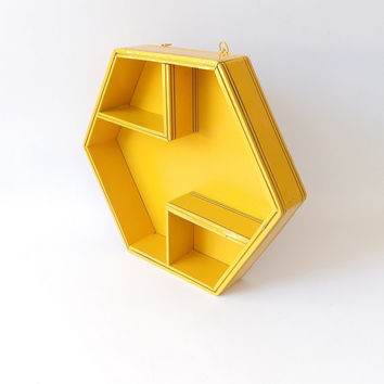 Yellow Hexagon Shelf Vintage Shelves Honeycomb Shape Wall Hanging Display Rack Unusual Shot Glass Holder Storage Wood Billiards Man Cave