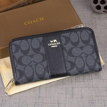 Coach Fashion new pattern print leather contrast color bag wallet Black