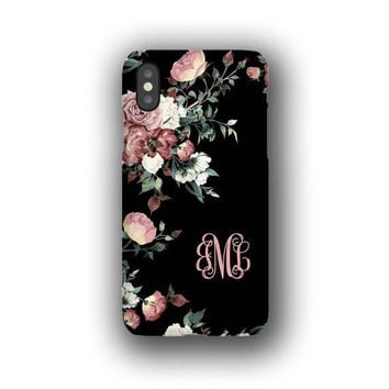 Vintage shabby chic roses monogrammed iPhone X Case, iPhone 8 Case, iPhone 8 Plus Case, Galaxy Note 8 Case, Galaxy S7 Personalized Galaxy S8