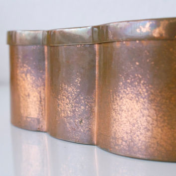Vintage COPPER PLATED CONTAINER Metal Steel Tin Biscuit Cookie Vohland & Bär Made in Switzerland Swiss Souvenir Deer Motif Rustic Decor