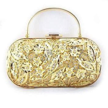 Hollow Metal Crystal Evening Clutch