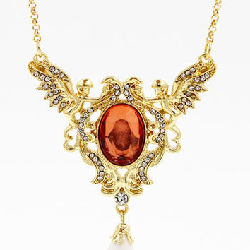 Gold Crystal Stone Teardrop Necklace