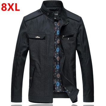 Autumn big yards men's coat and fertilizer  code of middle-aged big size jacket father wear business casual